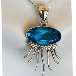 "Jewelry - 12ct Swiss Blue Pendant 1.5"" long"